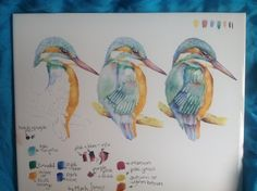 King fisher  3 stages painted on china tile by Mark Jones