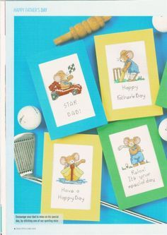 Furry Tales Father's Day Mice 1/2 Cross Stitch Card Shop Issue 72 June/July Hardcopy