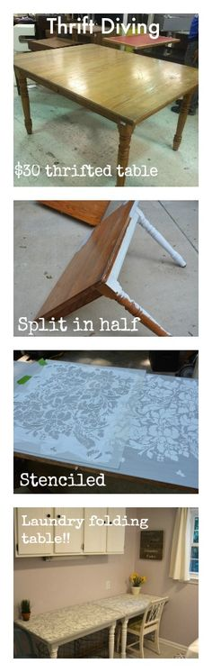 How to upcycle a chartity shop dining table - cut split and stenciled, now a long folding table in laundry room! - Thrift Diving Blog