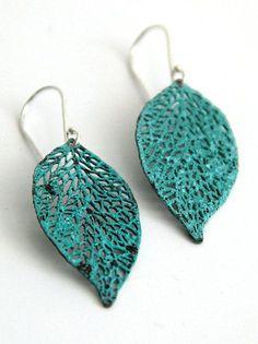 green drop leaf patina earrings Lace Leaf earrings