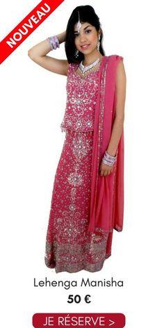 84a9ee3983d1b Location Lehenga Choli Manisha Rose Argenté Pas Cher 50€ Taille 38 40 Narkis  Fashion
