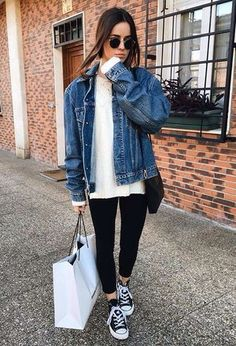 Look by @_amani with #sneakers #jeans #denim #spring #converse #jackets #bags #looks #shopbop #rockingsneakers #whitesweaters.
