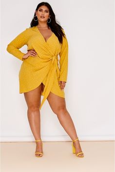 Order the Curve Mustard Polka Dot Wrap Front Mini Dress from In The Style. Plus Size Cocktail Dresses, Plus Size Party Dresses, Plus Size Outfits, Curve Dresses, Sexy Dresses, Peplum Dresses, Curvy Women Fashion, Plus Size Fashion, Curvy Outfits