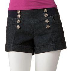 Candie's Cuffed Sailor Denim Shorts