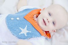 Cowboy Bib Western Recycled Jeans - Orange Bandana. $13.50, via Etsy.