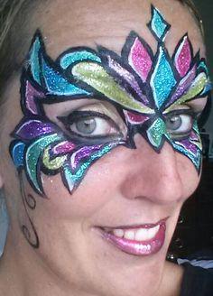 Face Painting Glitter Madi Gras Mask