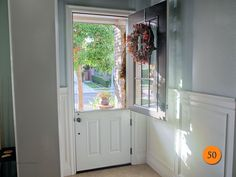 9 Lite SDL Clear Glass Dutch 8ft Entry Door with Shelf. Single 36x96 (8 Foot Tall) Plastpro DRS4180 Fiberglass. Smooth Skin Painted Swiss Coffee. Installed in Ladera Ranch, CA.