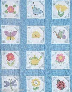 Jack Dempsey Stamped #crossstitch Octagon #garden #quiltblocks ♥ #baby #nursery #gift #DIY #needlework #handmade #madeinusa