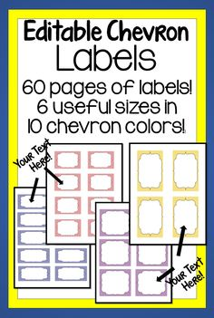 60 pages of EDITABLE labels in 6 useful sizes and 10 beautiful chevron colors! Fun Fall Activities, Classroom Activities, Learning Activities, Teaching Resources, Classroom Ideas, Teachers Pay Teachers Free, Book Bins, Elementary Teaching, Thing 1