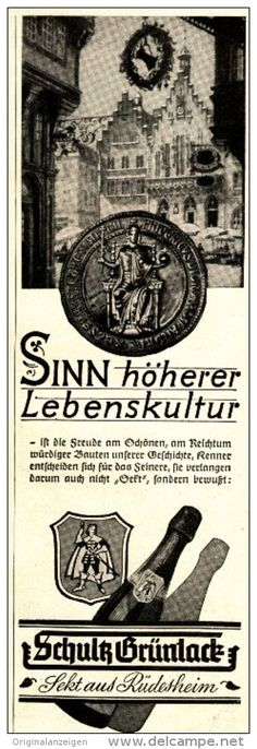 Original-Werbung/ Anzeige 1940 - SCHULTZ GRÜNLACK SEKT / RÜDESHEIM - ca. 75 x 220 mm