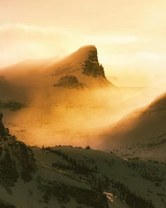 when the sun drops in the sky and catches the snow blowing off the top of mountains it looks like an epic sandstorm. by ravivora