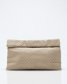 The Dinner in Dot Tan // paperbag style clutch