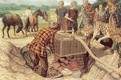 Celtic burial. The warrior is being laid to rest with his personal equipment and his most precious item, his Chariot.