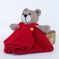 Teddy Bear security blanket amigurumi crochet pattern by One and two company