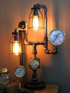 Machine Age Lamps, LLC | Steampunk lamps and lighting handcrafted using antique gauges, gears and components from early American factories, ...
