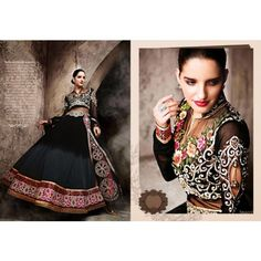 Anarkali style Semi-Stitched Salwar suit of kurta Black color and salwar of Pink color
