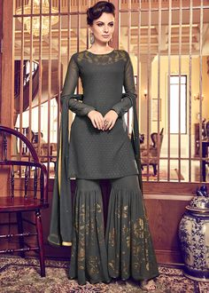 Dark Grey Swiss Georgette Embroidered Party Wear Pakistani Suit Product Details : Look your ethnic best by wearing this dark grey color pakistani salwar kameez. Made of swiss georgette, this suit comes with swiss georgettebottom and ATG silk inner. Sharara Designs, Lehenga Designs, Kurta Designs Women, Kurti Designs Party Wear, Pakistani Dress Design, Pakistani Bridal, Pakistani Outfits, Indian Outfits, Emo Outfits