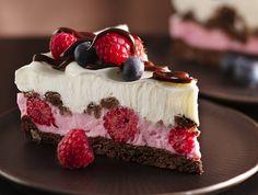 Chocolate, raspberry, yogurt dessert.  Yum.