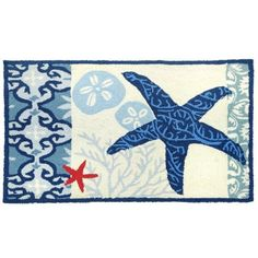 Homefires Accents Italian Tile with Starfish Indoor Rug, 22-Inch by 34-Inch.  Hand hooked. Coastal and beach theme. Artist: Jennifer brinley. Made form polyester. Blue and cream color. 34 in. L x 22 in W. Cleaning Instructions: For best results, we recommend hand washing.