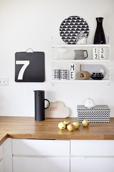 Black and white kitchen styling with Design Letters Cups