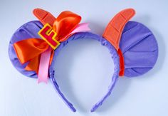 Mickey Mouse Ear Headband Inspired by Figment from Journey Into Imagination at Epcot    These ears are covered with a glittery purple satin