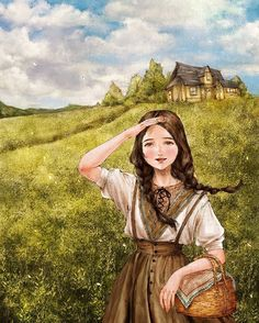 들판 위의 소녀 (The girl on the field) by 애뽈 on Grafolio Cartoon Kunst, Cartoon Art, Cute Cartoon, Art And Illustration, Illustrations, Forest Girl, Anime Art Girl, Cute Drawings, Female Art