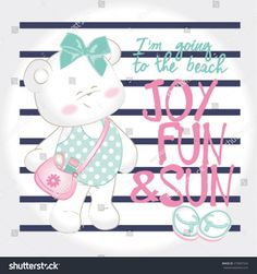 vector pretty baby bear to the seaside.Artwork for baby girl tees
