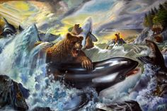 """David Rubin. Piece is titled """"Scene in Edmond Bay - Bears and Killer Whales Compete for Sea lions"""""""