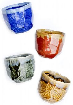 Boulder cup s- good glazing inside and out one color, edge a complementary color. jewel_boulder_cup_set