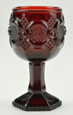 Mini red vintage Avon glass