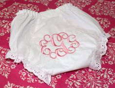 Lace Trim Monogrammed Baby Toddler Bloomers on Etsy, $11.50