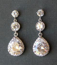 Crystal Bridal Earrings Crystal Teardrop Wedding by JamJewels1