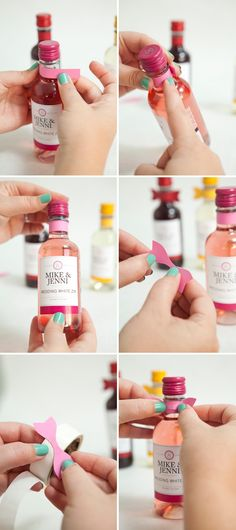 DIY mini-wine bottle wedding favors