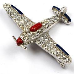 Trifari WW2 US Patriotic Red White and Blue Airplane Pin