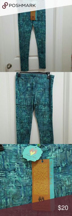 Yoga pants with batik design-NWT Beautifully hand crafted, one of a kind yoga pants, designed in Bali. Abstract batik design, in teal and blue. Hands to Hearts Pants Leggings