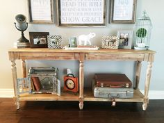 Decorating Front Foyer Table : Sawhorse console table entry way display front vintage