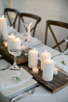 Wood and White :: Cedarwood Style Inspiration Cedarwood Weddings Wedding Table Decorations, Decoration Table, Christmas Decorations, Candle Centerpieces, Wedding Centerpieces, Fete Julie, Wood Pieces, Rustic Design, Soy Candles