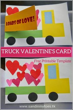 Truck Valentine's card with free printable. day gift boyfriend day gift girl day gift him day gift ideas day gift kids day gift teacher Diy Valentines Cards, Valentine Theme, Valentine's Day Crafts For Kids, Valentine Crafts For Kids, Cadeau St Valentin, Truck Crafts, Construction Paper Crafts, Cool Birthday Cards, Kids Cards