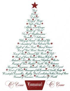 Fine art tree calligram print with the names of Jesus by Clifford D. Christmas Tree-Names of Jesus. Christmas Program, Christmas Flyer, Christmas Jesus, Christmas Tree Cards, Christian Christmas, Christmas Quotes, Christmas Signs, Christmas Pictures, Christmas Art