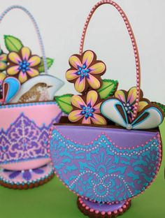 Click Pic for 28 Easter Cookie Recipes - 3-D Stenciled Baskets - Easy Cookie Recipes for Kids | Easter Treats