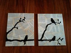 artwork on book pages on canvas.  we could make something pretty for our living room!