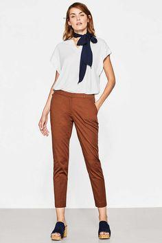 Twillowe spodnie do kostki, bawelna/ strecz