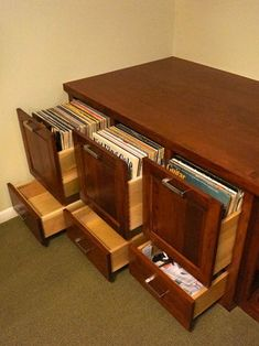 Custom Cherry Audio/Video and vinyl record storage cabinet