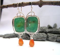 Chrysoprase Cabochon With Carnelian Drops in Argentium silver-  Etsy $103.00