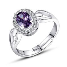 Romantic Amethyst Inlaid 925 Sterling Silver Opening Ring