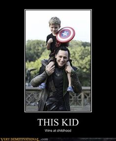 Demotivational posters - THIS KID wins at childhood      Picture explained at http://www.g33kwatch.com/movies/story-of-a-five-year-old-avenger-meeting-the-avengers/