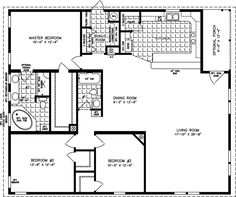 The TNR-7483 - Manufactured Home Floor Plan | Jacobsen Homes I'd take out the 3rd bedroom and make it a bigger living room!