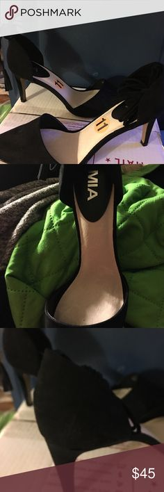 Mia black high  heels. Really cute Mia black high heels. With ankle tie in the back of the heel. MIA Shoes Heels
