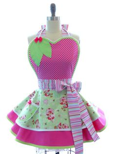 Retro Apron - Strawberry Shortcakes Sexy Womans Aprons - Vintage Apron Style - Shortcake Pin up Rockabilly Cosplay Lolita via Etsy Retro Apron, Aprons Vintage, Pin Up, Apron Designs, Cute Aprons, Sewing Aprons, Strawberry Shortcake, Kitchen Aprons, Style Me