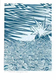 Salina II blau/weiß Linolschnitt auf 300 gr. säurefreiem Karton, 2014, Auflage: 100 Stück von mingoniaprintshop auf Etsy